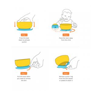 Instrucciones de uso del bol de bambú con ventosa