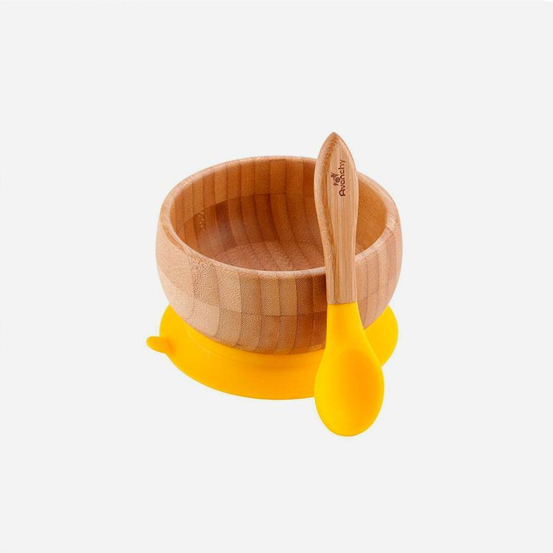 bol de bambú con ventosa amarillo