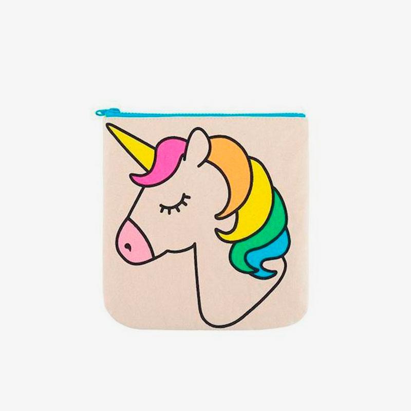 bolsa con cremallera unicornio