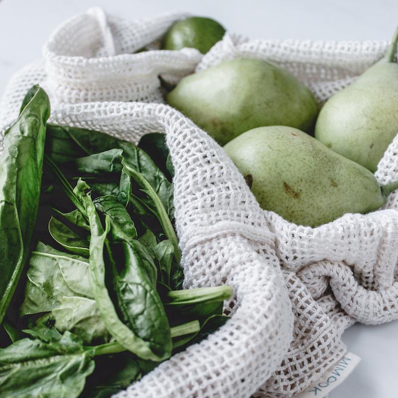 bolsas de malla para comprar a granel de algodón orgánico gots - pack de 3