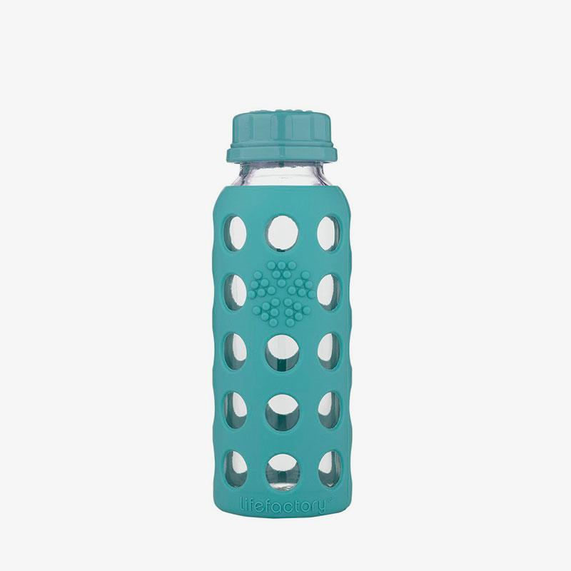 Botella de cristal Lifefactory 250 ml Flat Cap Kale