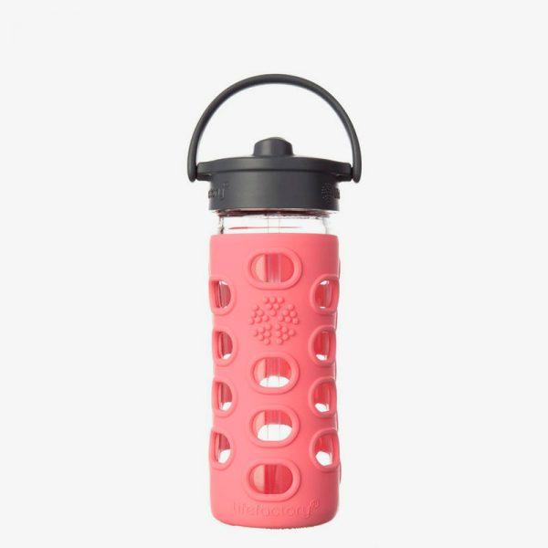 Botella de cristal Lifefactory 350 ml Straw Cap Coral