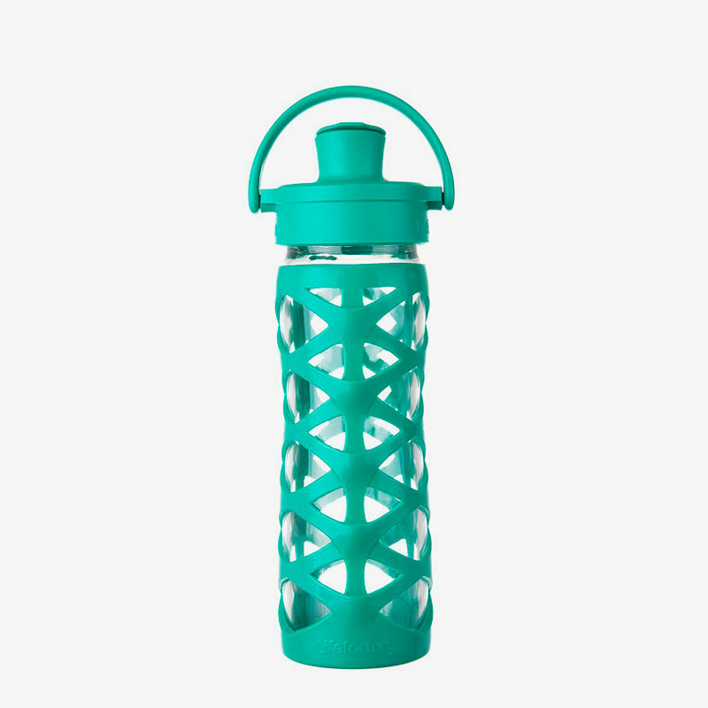 Botella de cristal Lifefactory 475 ml Active Flip Aquatic Green