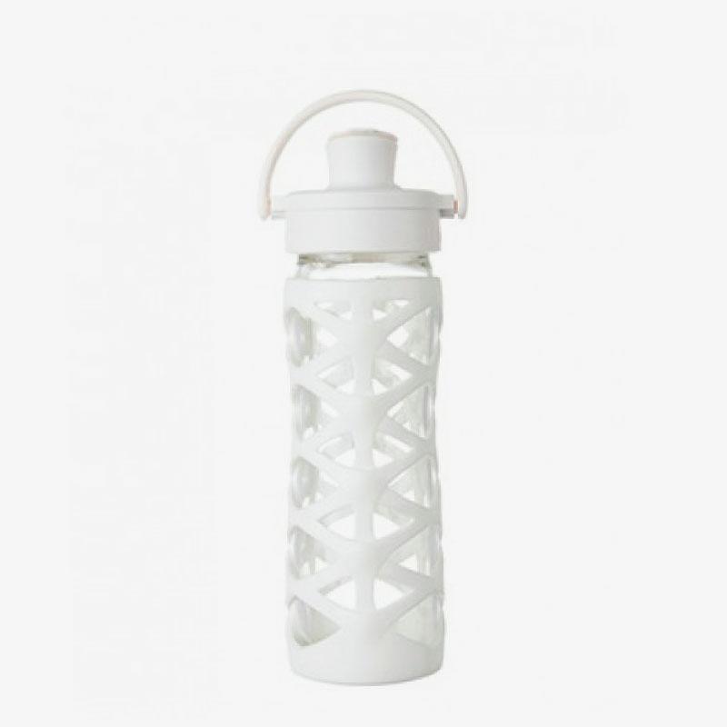 Botella de cristal Lifefactory 475 ml Active Flip Optic White