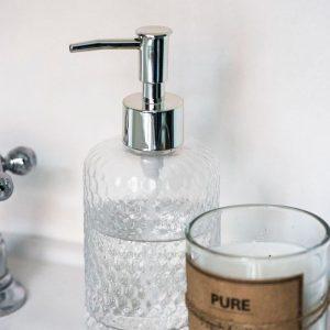 dispensador de cristal para jabón líquido