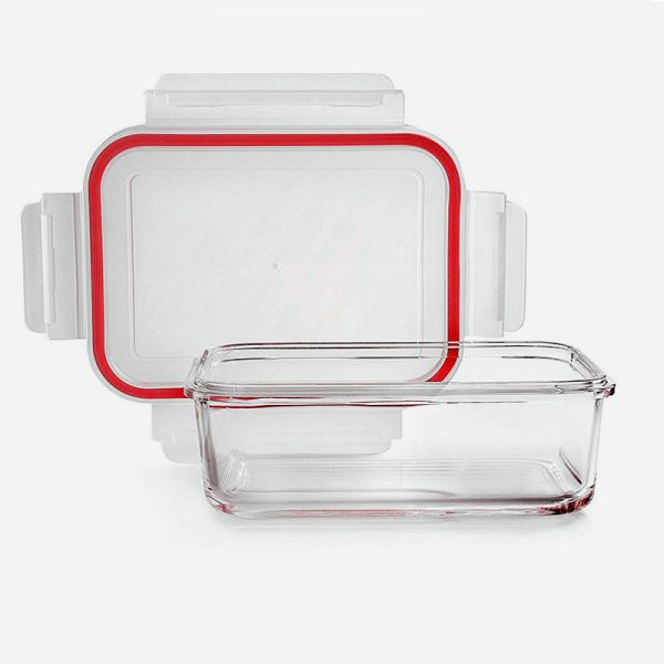 fiambrera de cristal rectangular de 1600ml