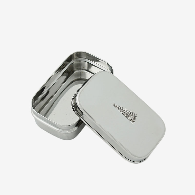 fiambrera de acero inoxidable mini abierta