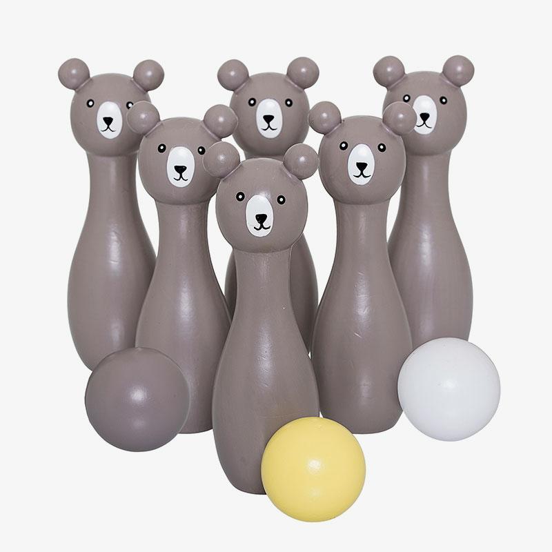 juego de bolos de madera con osos