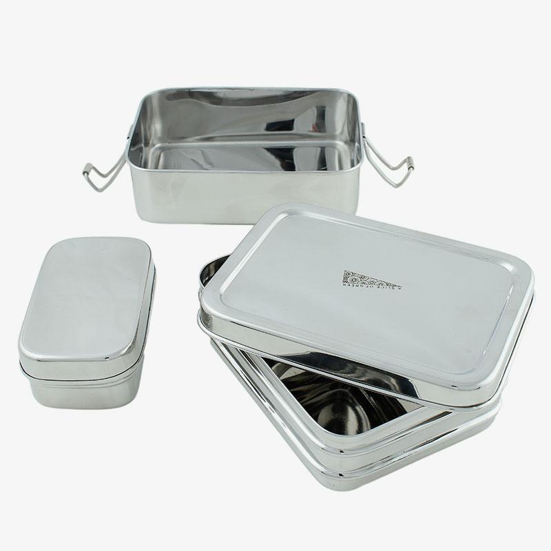 lunch box rectangular doble abierta