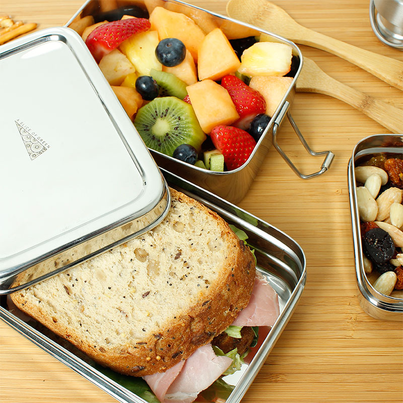 lunch box rectangular doble con comida