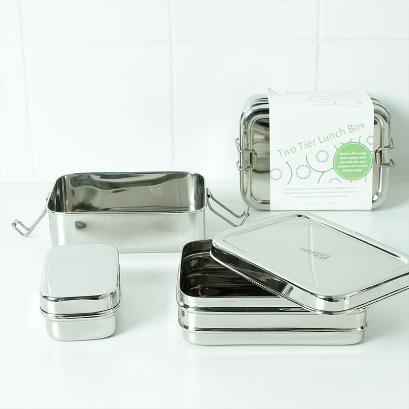 lunch box rectangular doble packaging
