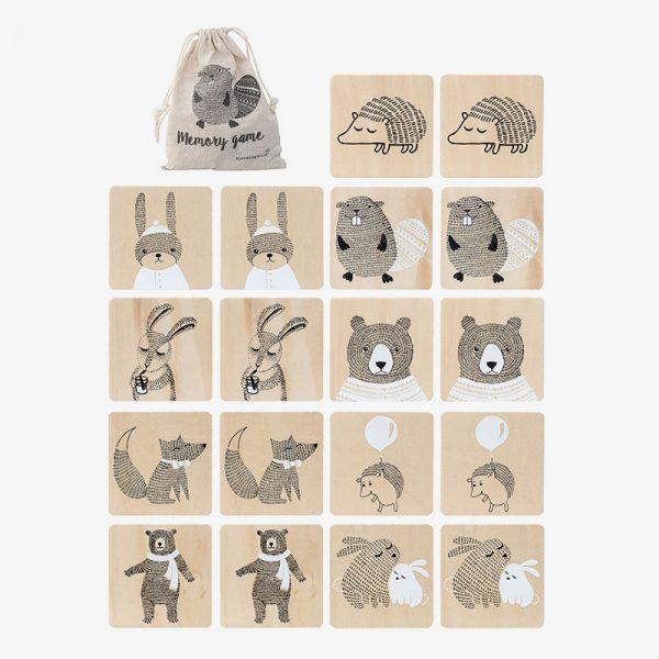 juego memory de madera animales