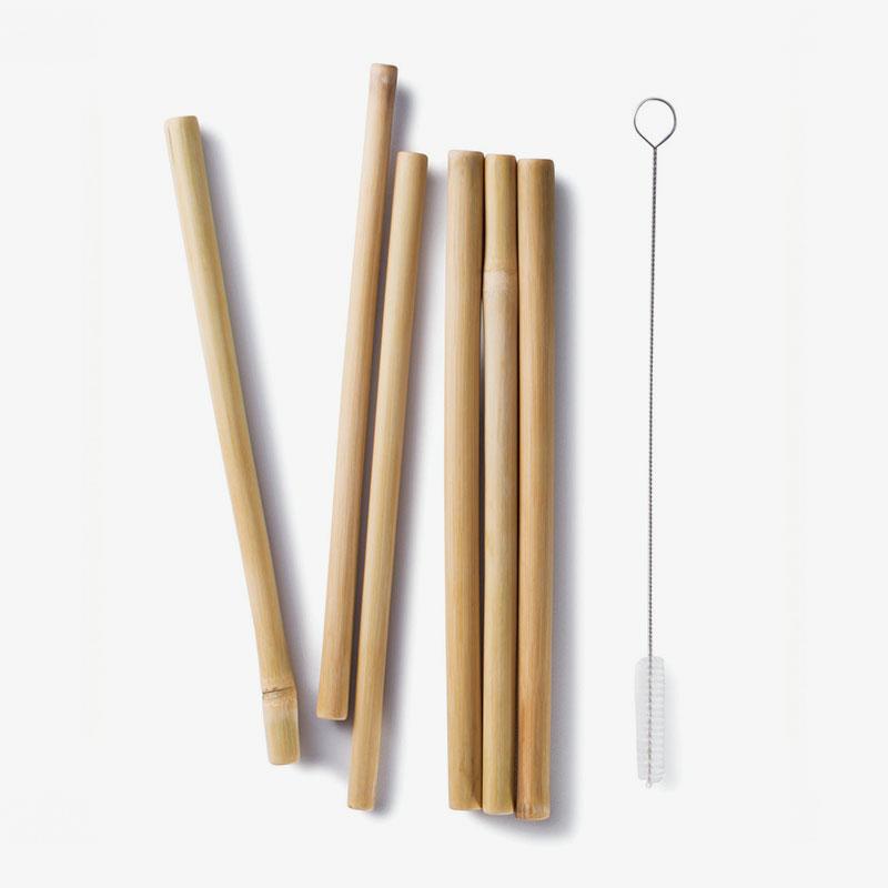 pajitas de bambú reutilizables con cepillo