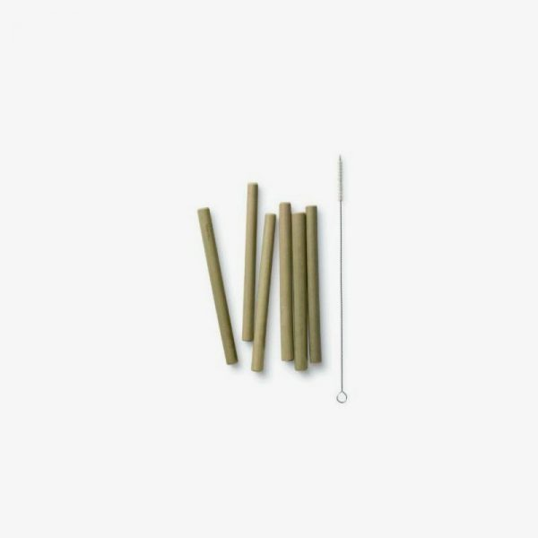 pajitas de bambú cortas reutilizables con cepillo