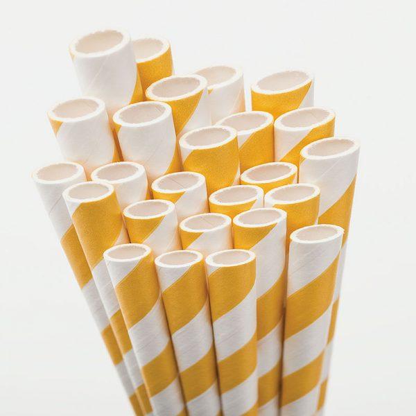 pajitas de papel rallas amarillas