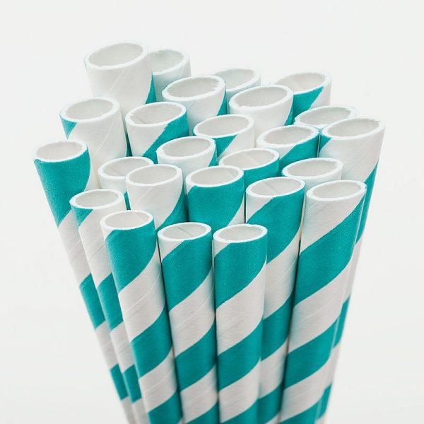 pajitas de papel rallas azul turquesa