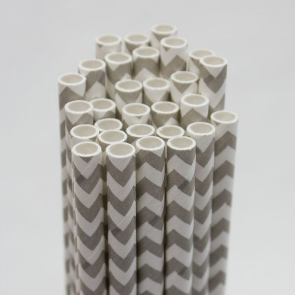 pajitas de papel zig zag gris