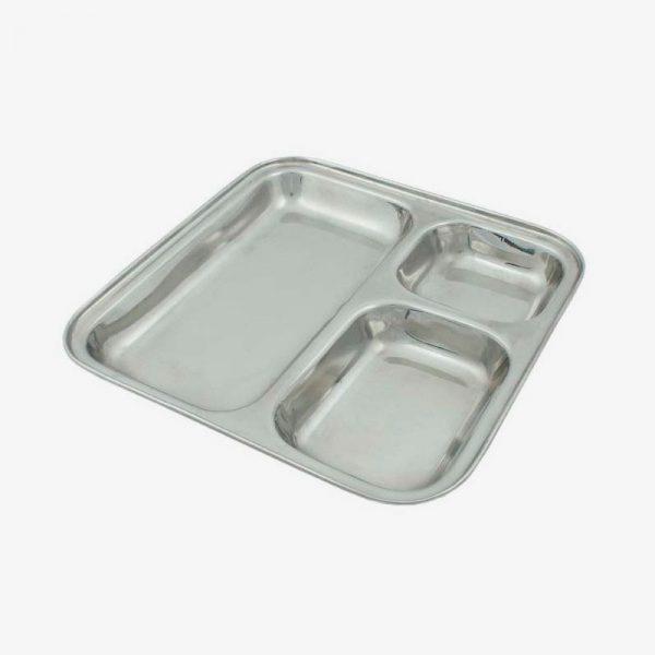 plato de acero inoxidable con separadores