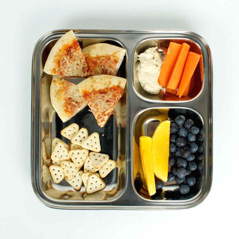 plato de acero inoxidable con separadores y comida