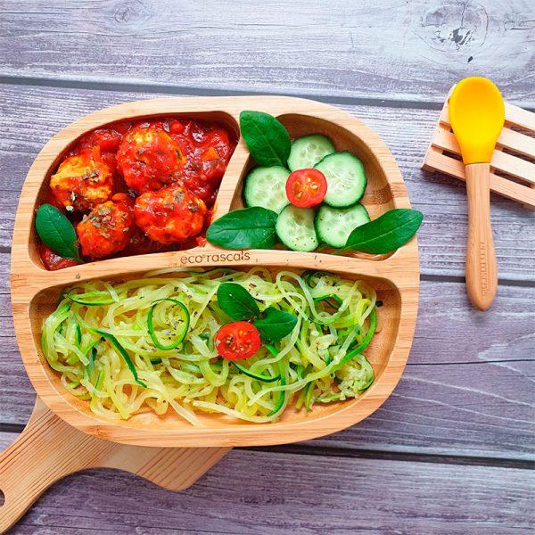 plato de bambú con ventosa eco rascals