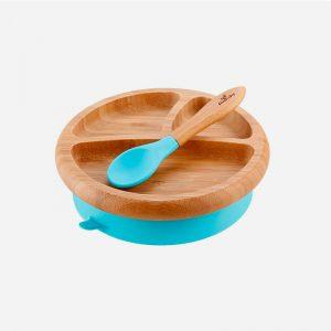 plato de bambú con ventosa para bebé azul