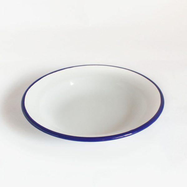 plato hondo de acero esmaltado Azul