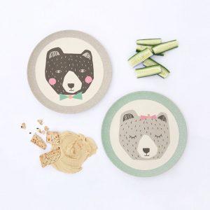 platos de bambú 21 cm osos con comida