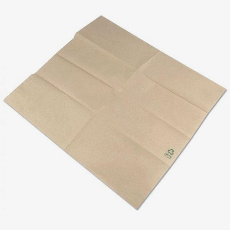 servilletas de papel reciclado 32x32 color marrón abierta
