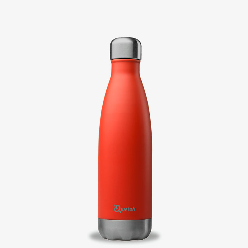 termo de acero inoxidable 500ml Qwetch rojo coral