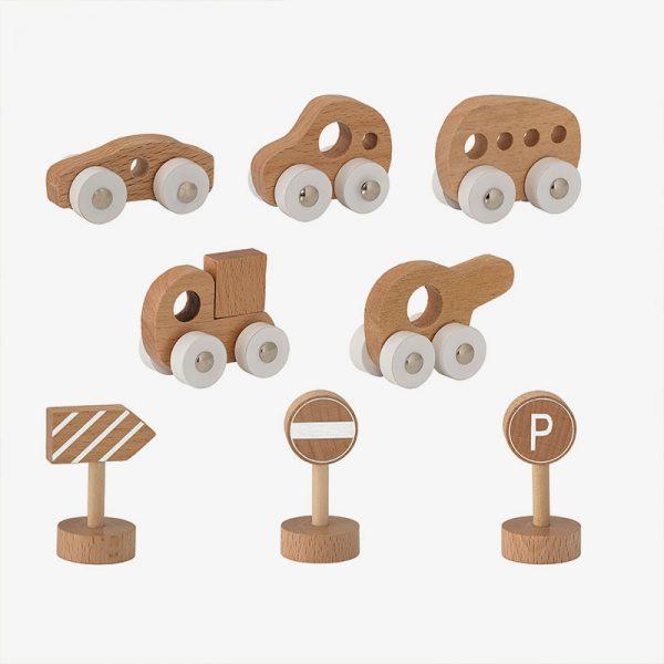 Vehículos de madera - Pack de 8