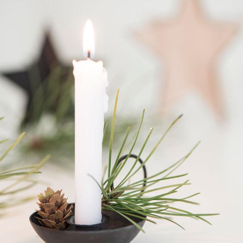 vela vegetal para candelabro blanca